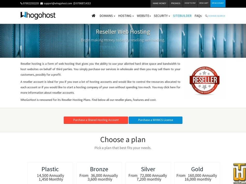 Screenshot of Gold from whogohost.com