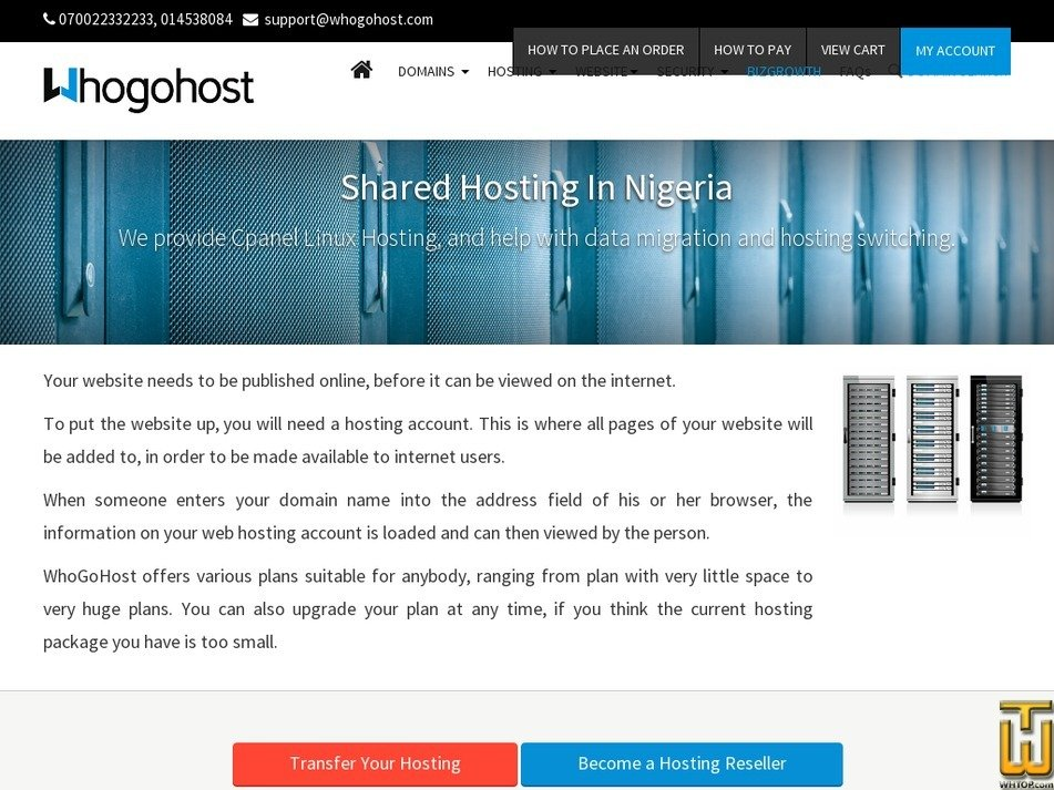 Screenshot of Aspire from whogohost.com