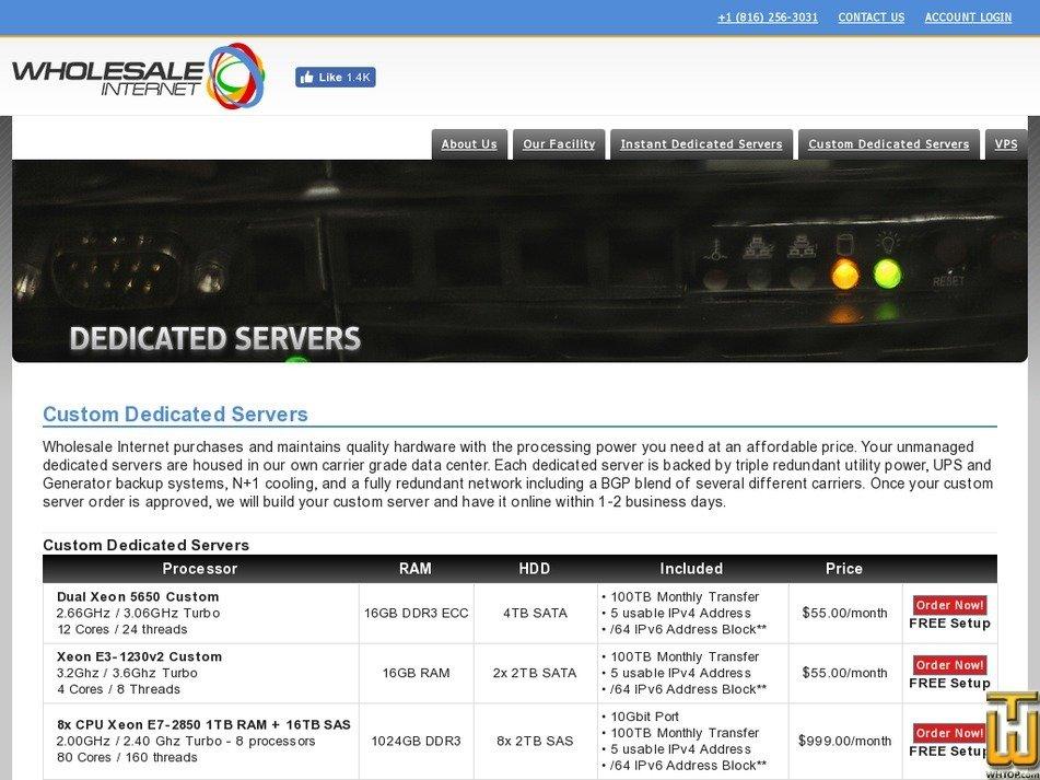Screenshot of Dual Xeon 5650 Custom from wholesaleinternet.net