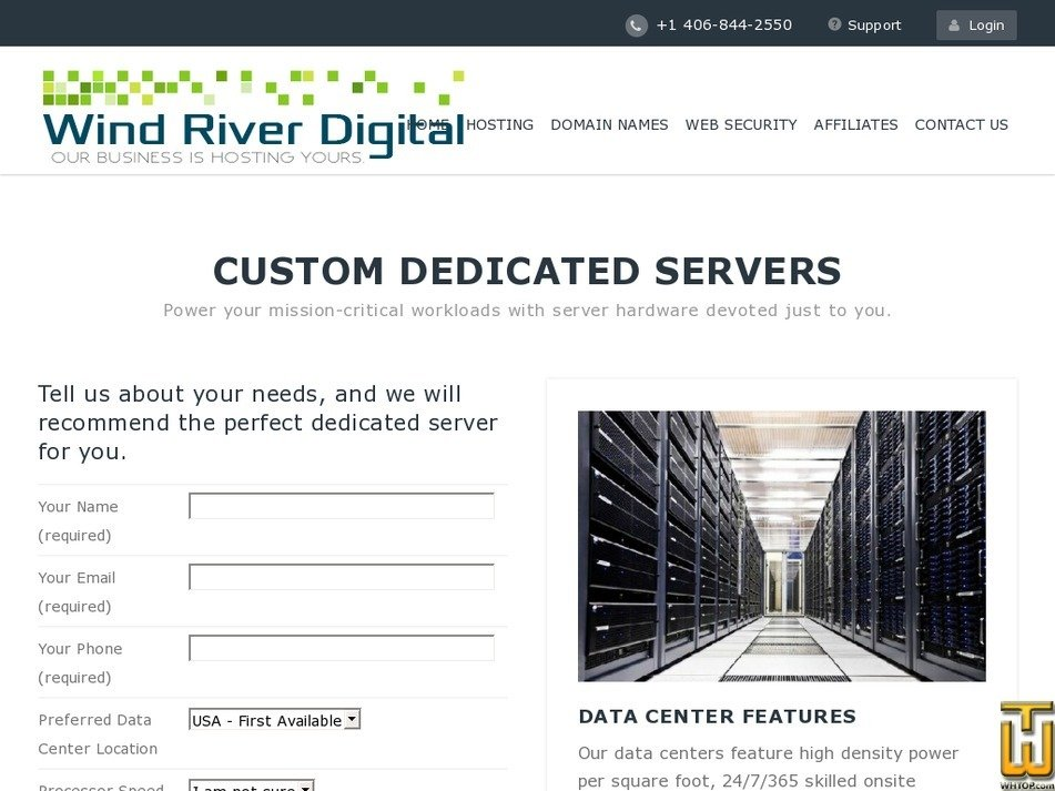 Screenshot of Custom Dedicated Server from windriverdigital.com