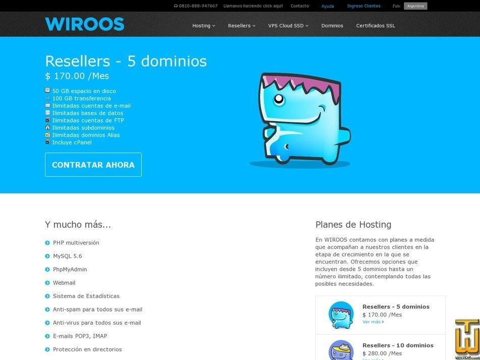 Bildschirmfoto von Resellers - 5 dominios von wiroos.com