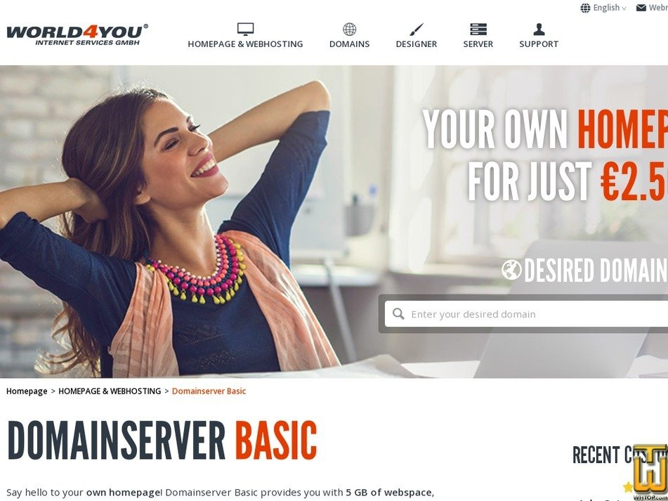 Screenshot of Domainserver BASIC from world4you.com