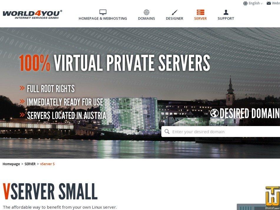 Screenshot of Vserver S from world4you.com