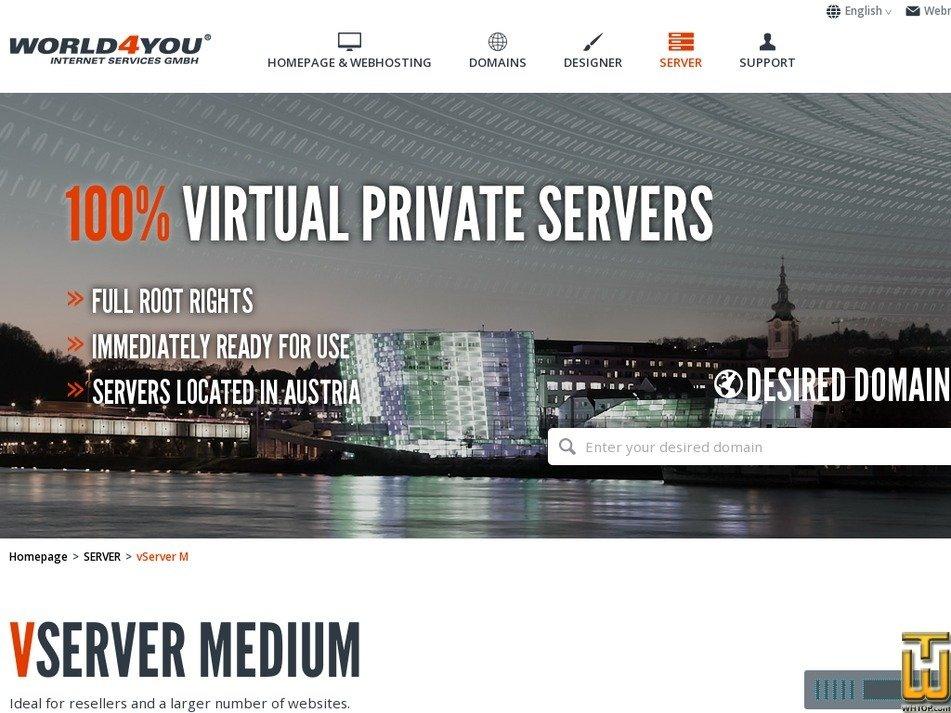 Screenshot of Vserver M from world4you.com