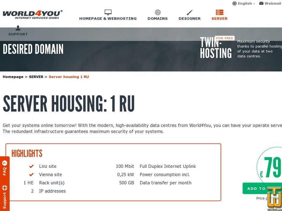 screenshot of Server housing 1 RU - Linz / Vienna from world4you.com