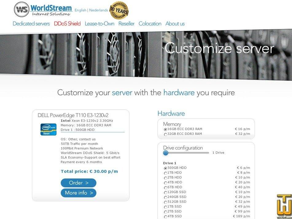 Screenshot of DELL PowerEdge T110 E3-1230v2 from worldstream.nl