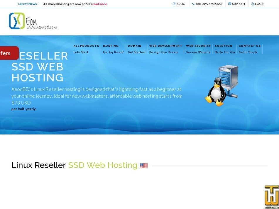 screenshot of Linux Reseller SSD Web Hosting Plan 5 from xeonbd.com