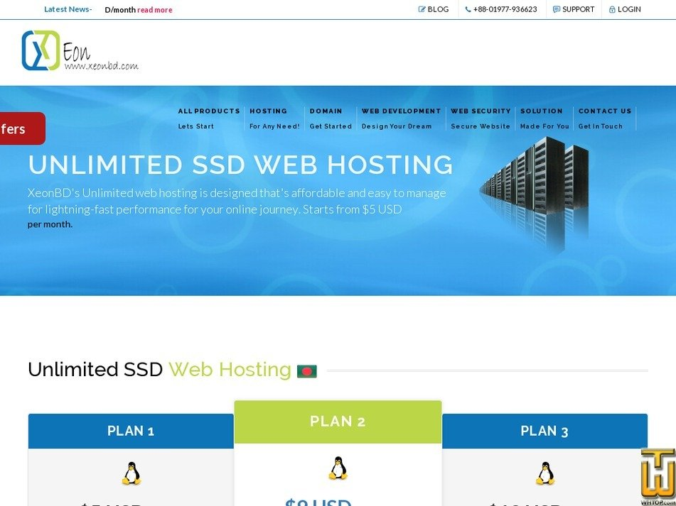Screenshot of Unlimited SSD Web Hosting Plan 1 from xeonbd.com