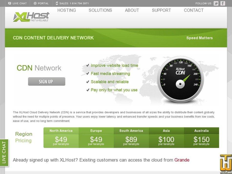 Screenshot of CDN from xlhost.com