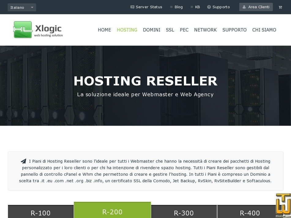 screenshot of Hosting Reseller - R-100 from xlogic.org