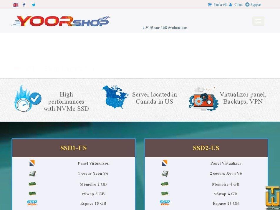 Screenshot of NVMe VPS SSD in Europe - SSD2-US from yoorshop.fr
