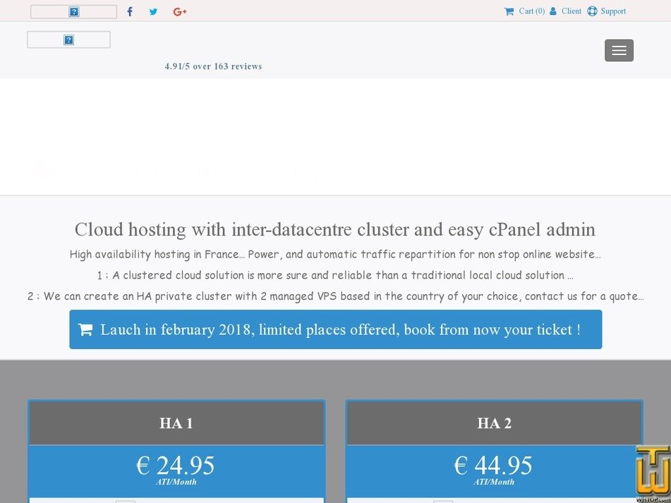 Screenshot of HA Cloud hosting with cPanel in Europe - HA 1 from yoorshop.fr
