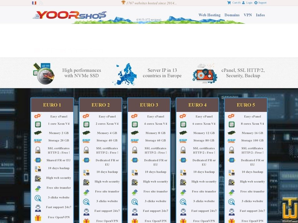Screenshot of 100% NVMe SSD web hosting in Europe, France - EURO1 from yoorshop.hosting