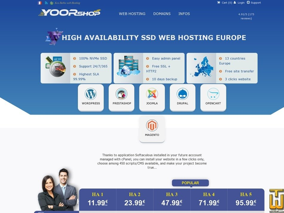 screenshot of HA Cloud SSD hosting with cPanel in Europe - HA1 from yoorshop.hosting