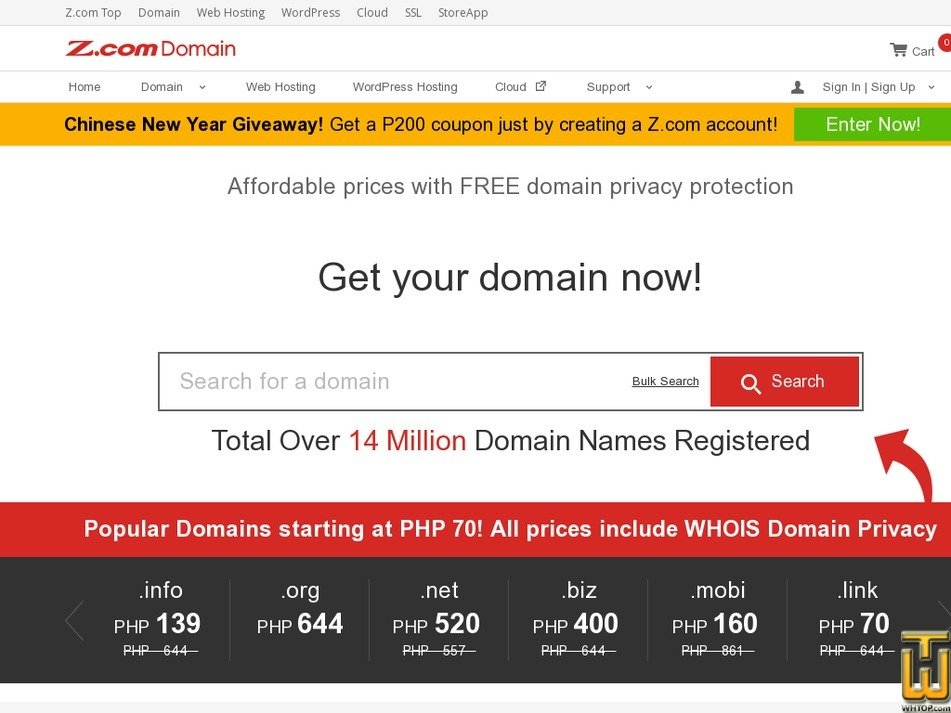 screenshot of Domains from z.com