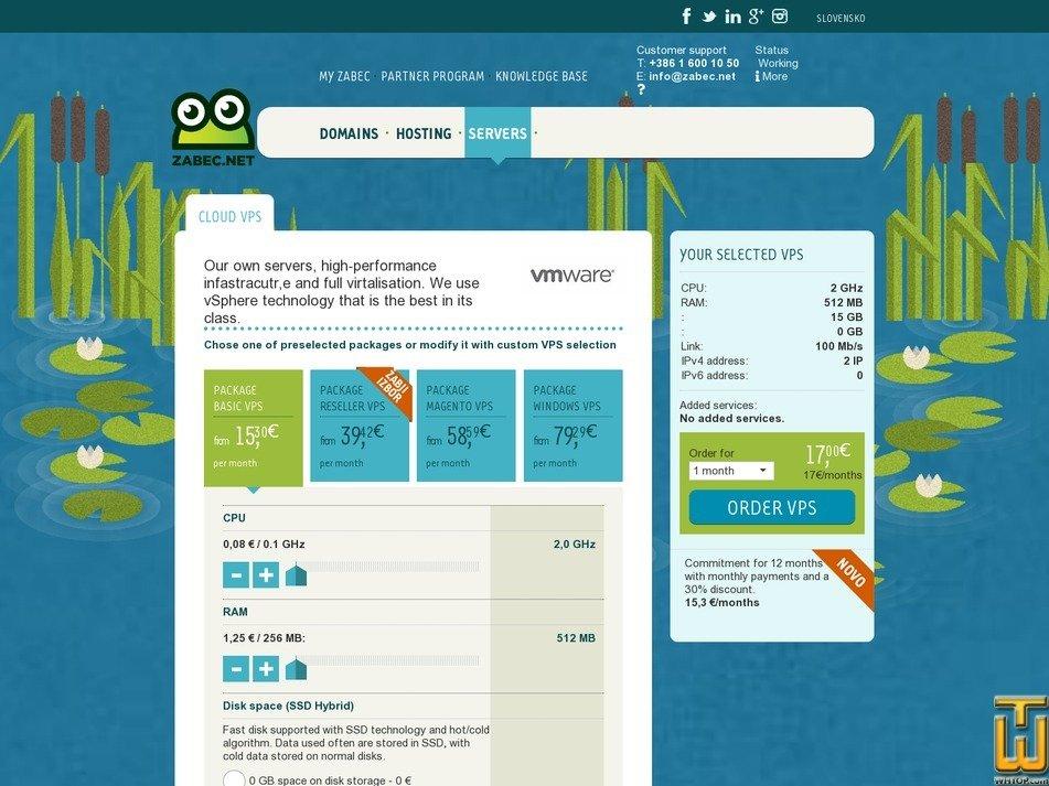 screenshot of Basic VPS from zabec.net