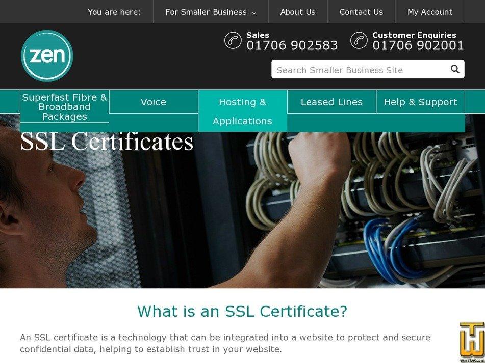 Screenshot of SSL from zen.co.uk