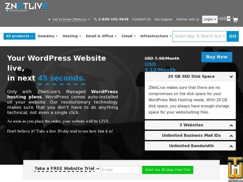 Screenshot of WordPress Hosting at only $3.04 from znetlive.com
