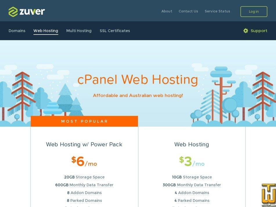Screenshot of Web Hosting w/ Power Pack from zuver.net.au