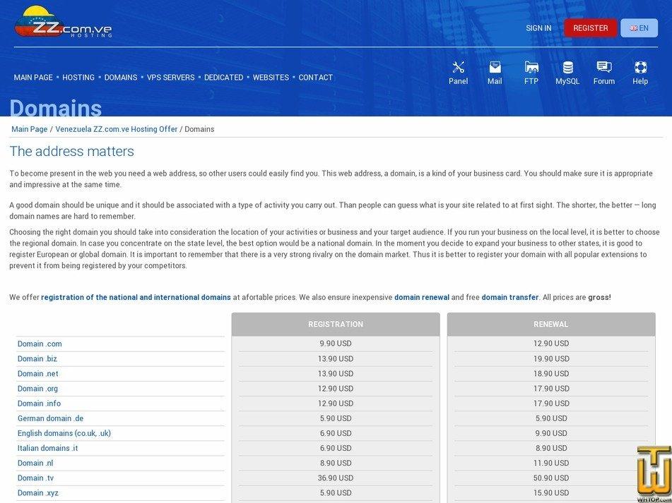 screenshot of .com from zz.com.ve